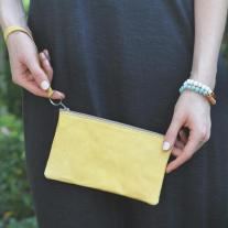 Butter yellow leather wristlet